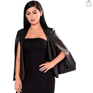 Black Leatherette Pancho Cape Blazer Sz XL